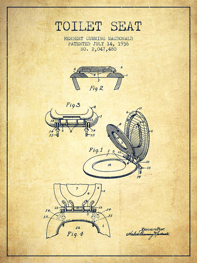 Toilet Seat Patent From 1936 Vintage Drawing By Aged Pixel