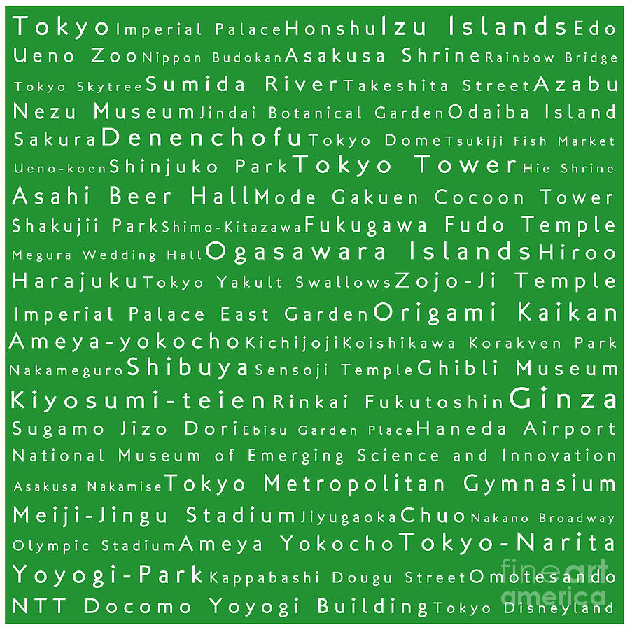 Tokyo In Words Green Digital Art