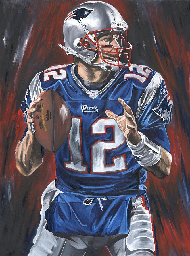 Tom Brady New England Patriots Nfl Quarterback Sports Art David Courson Passing Football  Painting - Tom Brady by David Courson