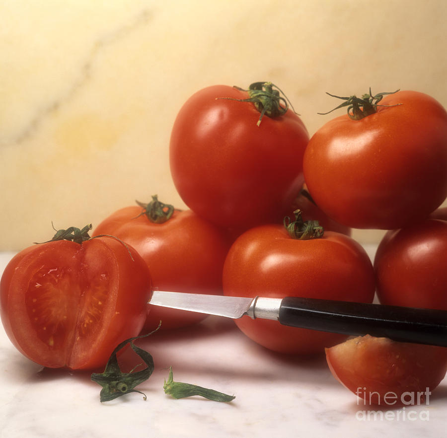 Cut Food Indoors Indoor Inside Knife Knives Nobody Nutrition Sharp Sliced Solanum Lycopersicum Photograph - Tomatoes And A Knife by Bernard Jaubert