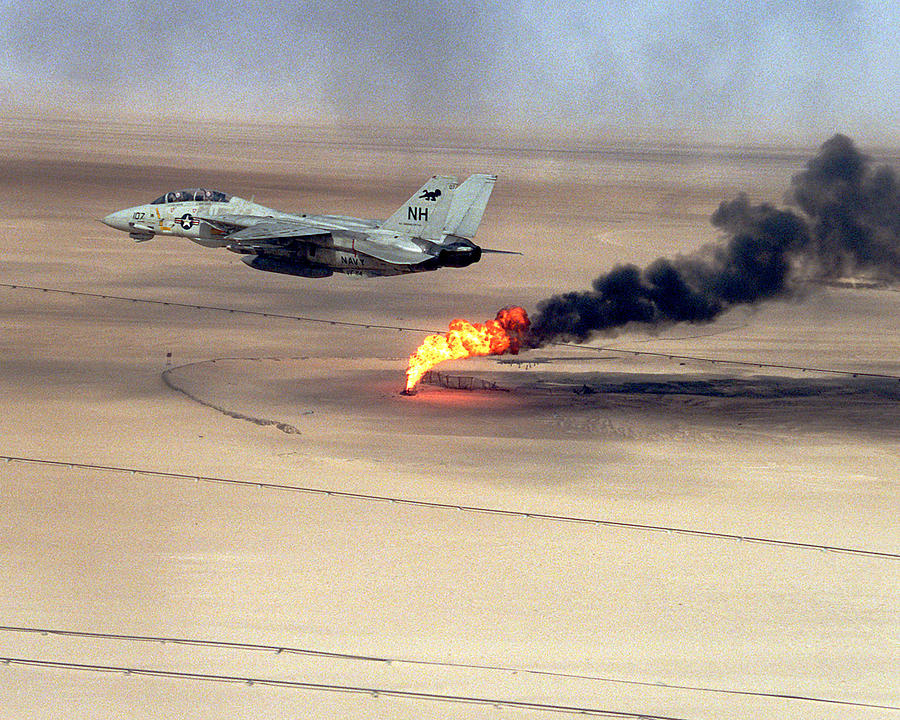 Tomcat Aircraft Flies Over An Oil Well Still Burning In The Afte Digital Art  - Tomcat Aircraft Flies Over An Oil Well Still Burning In The Afte Fine Art Print