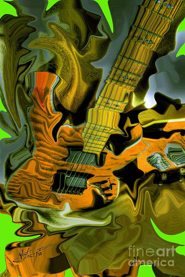 Too Much Vibrations Digital Guitar Art By Steven Langston Photograph  - Too Much Vibrations Digital Guitar Art By Steven Langston Fine Art Print