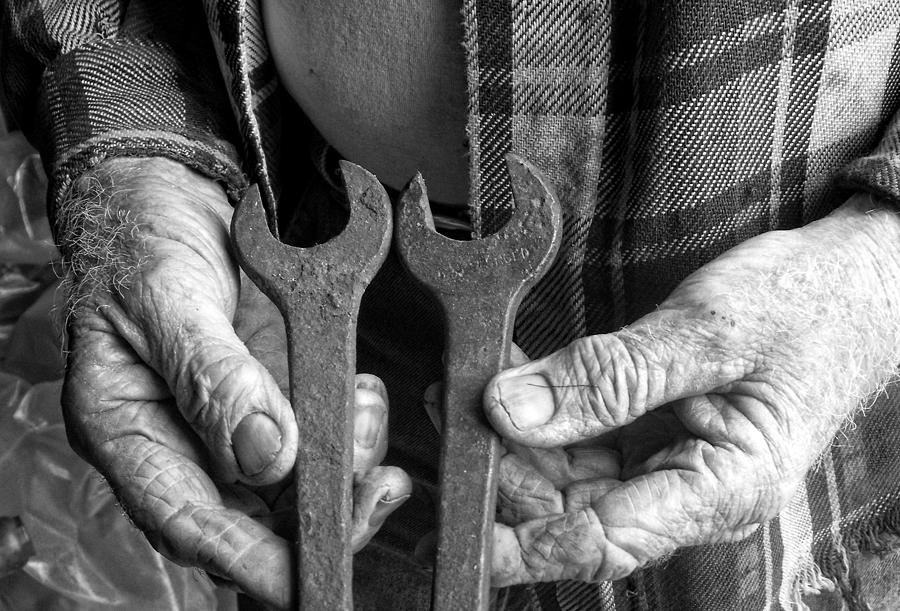 Working Hands Photograph - Tools Used All His Life by Kristie  Bonnewell