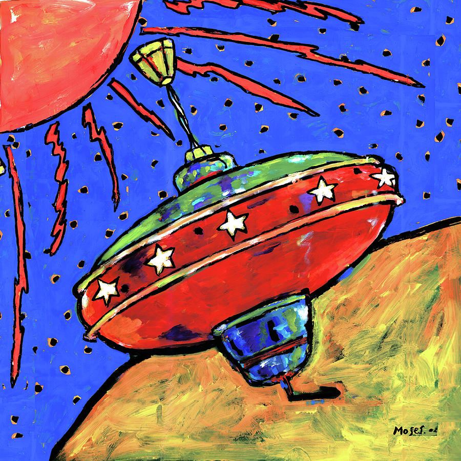 Top In Space Painting  - Top In Space Fine Art Print