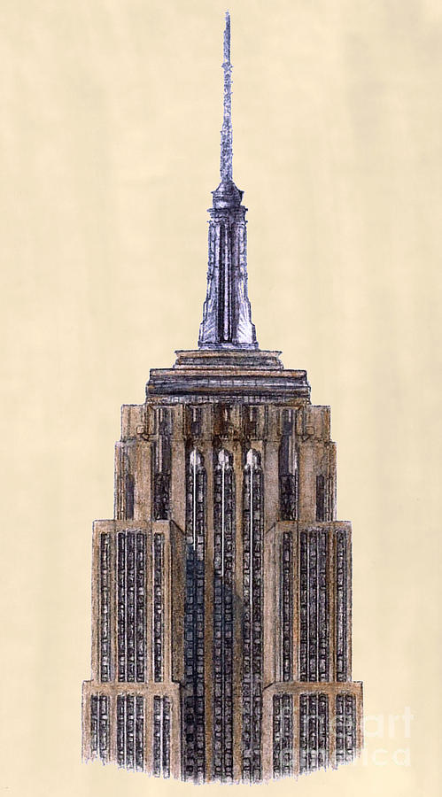 Top Of Empire State Building New York City Drawing