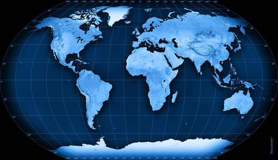 Topographic World Map Kavraisky Vii Projection Digital Art by Frank Ramspott