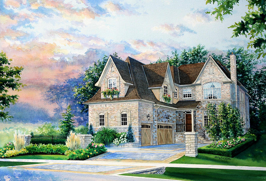 House Portrait From Photograph Painting - Toronto Family Home by Hanne Lore Koehler