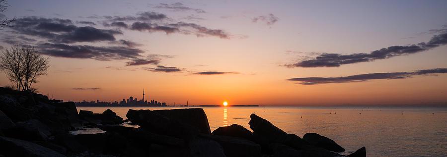 Toronto Photograph - Toronto Skyline Panorama At Sunrise by Georgia Mizuleva