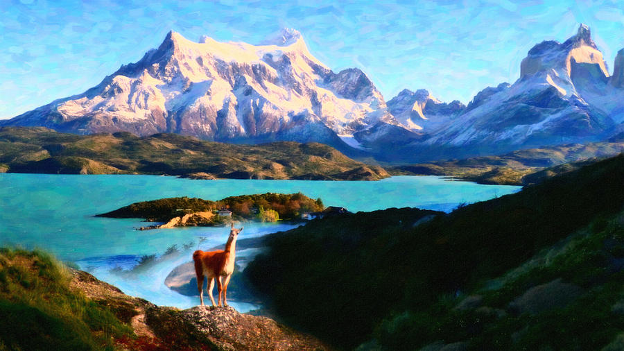 Torres Del Paine National Park And The Llama Chile Painting  - Torres Del Paine National Park And The Llama Chile Fine Art Print
