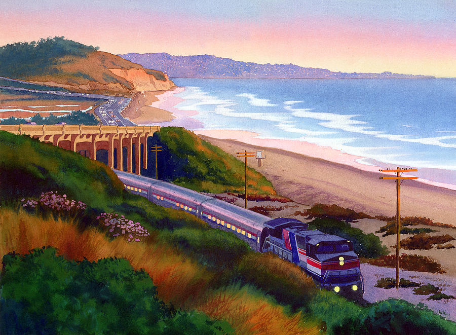 Torrey Pines Painting - Torrey Pines Commute by Mary Helmreich