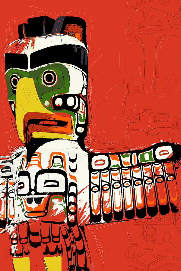 Vancouver Painting - Totem Pole 02 by Catf