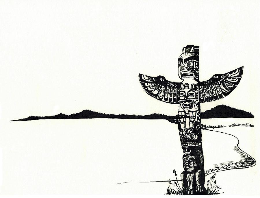 Totem Pole Drawing By Celine Bain