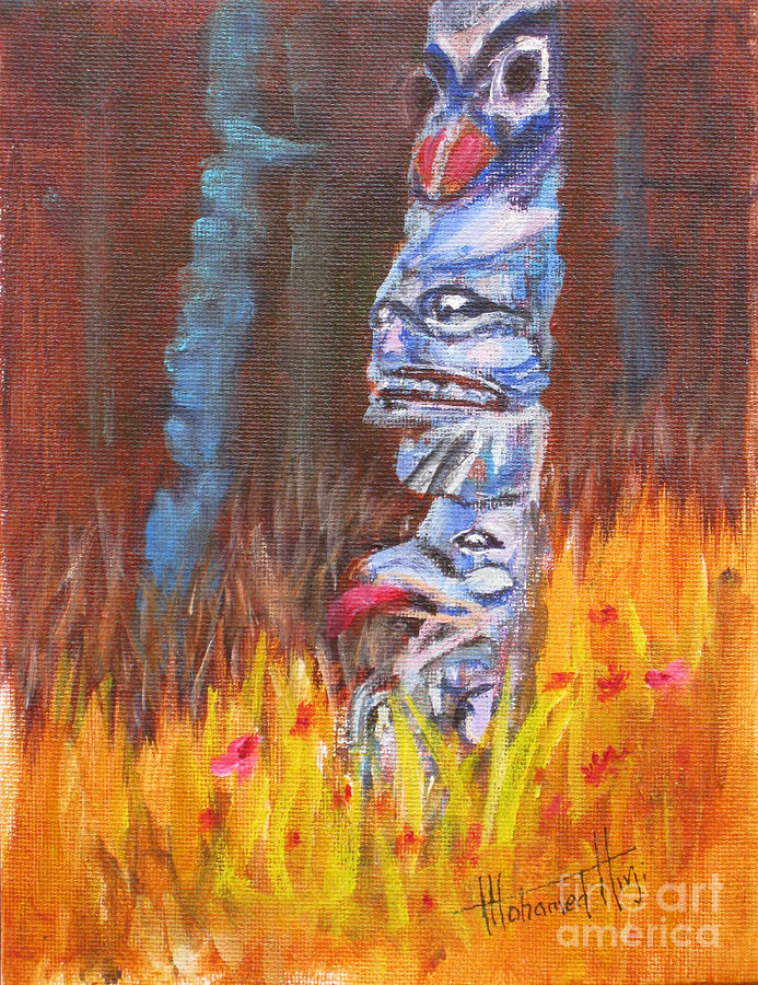 Aboriginal Painting - Totems Of Haida Gwaii by Mohamed Hirji