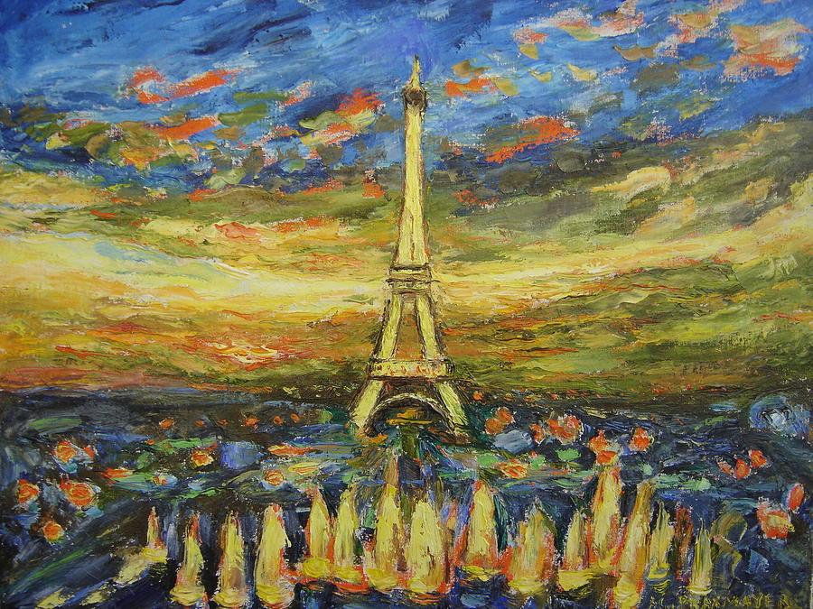 Tour Eiffel Avec La Fontaine. Painting