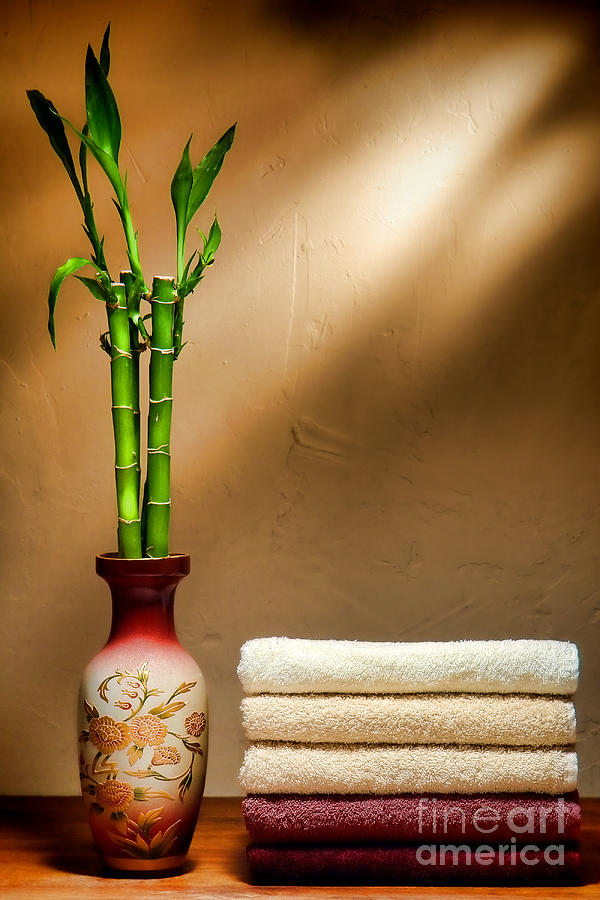 Towels And Bamboo Photograph  - Towels And Bamboo Fine Art Print