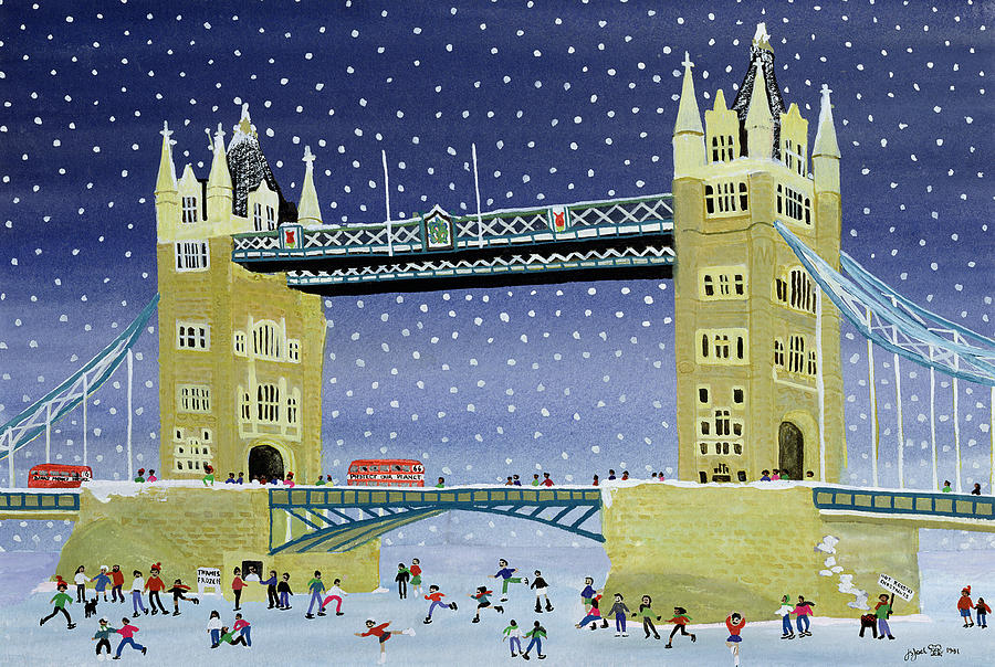 Bus; Winter Painting - Tower Bridge Skating On Thin Ice by Judy Joel