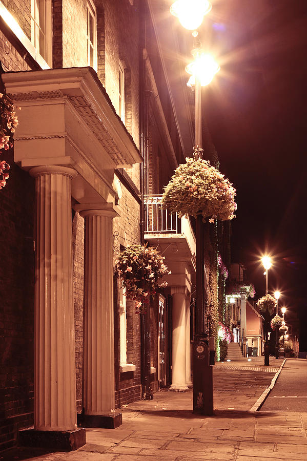Alley Photograph - Town At Night by Tom Gowanlock