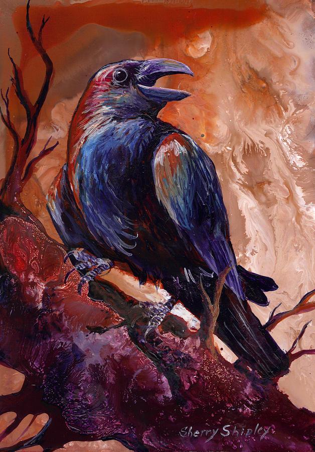 Bird Painting - Town Gossip by Sherry Shipley