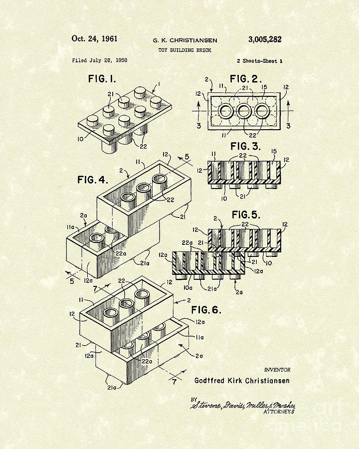 Toy Building Brick 1961 Patent Art Drawing