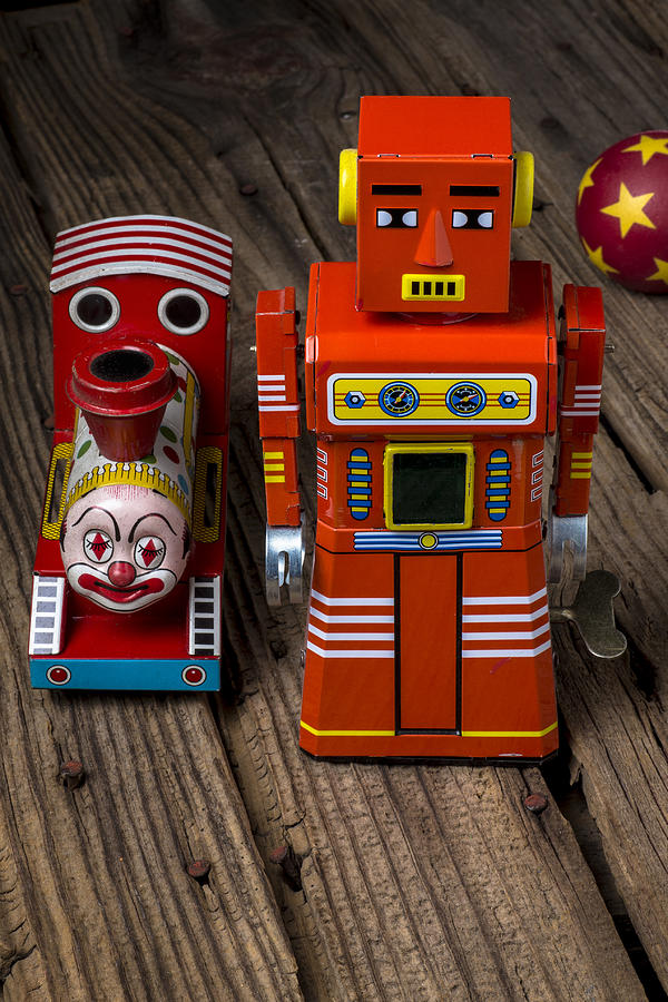 Train Photograph - Toy Robot And Train by Garry Gay