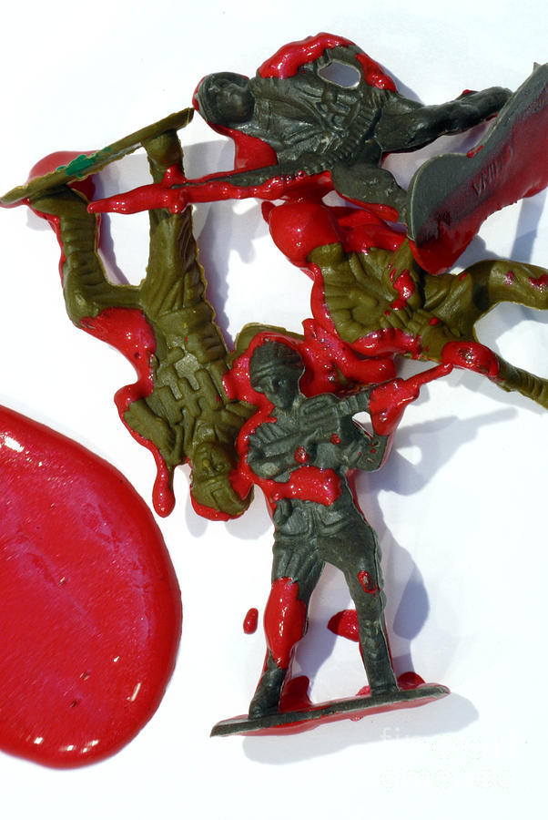 Toy Soldiers In A Pool Of Blood Photograph
