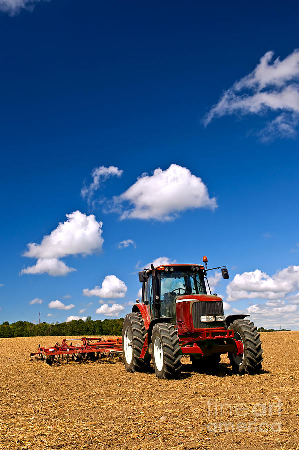 Tractor In Plowed Field Photograph  - Tractor In Plowed Field Fine Art Print