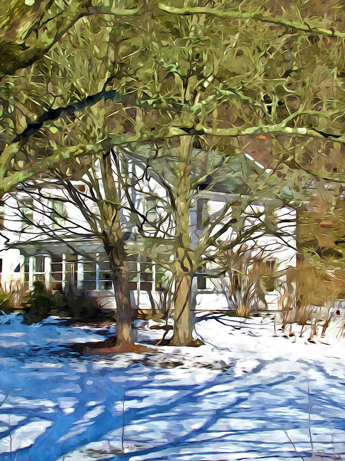 Traditional American Home In Winter Painting  - Traditional American Home In Winter Fine Art Print