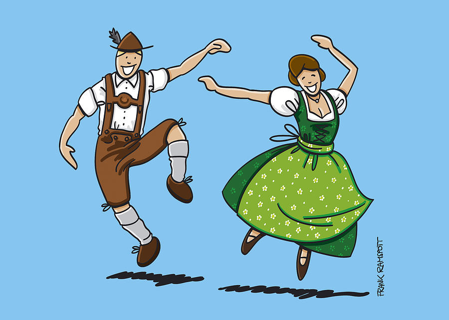 Traditional Bavarian Couple Dancing Drawing