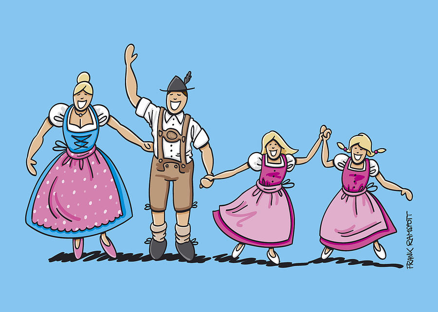 Traditional Bavarian Family With Two Daughters Digital Art