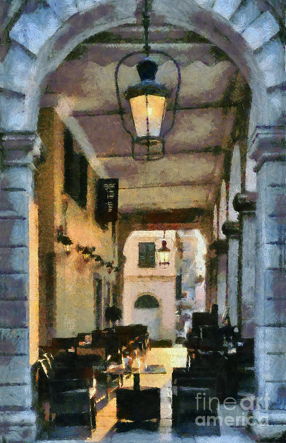 Traditional Cafe Painting Painting  - Traditional Cafe Painting Fine Art Print