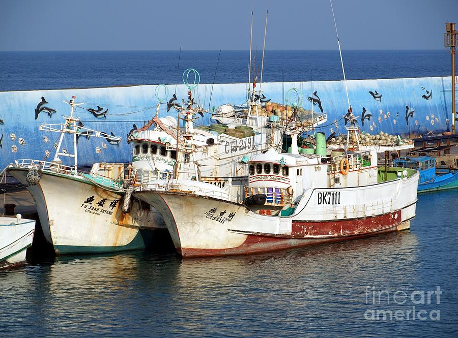 Taiwan Photograph - Traditional Chinese Fishing Boats by Yali Shi