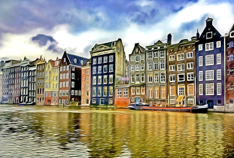 Traditional Dutch Buildings On Canal In Amsterdam Painting