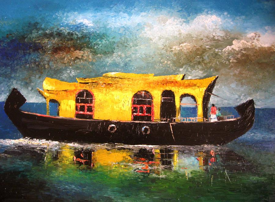 Traditional House Boats Of Kerala Painting
