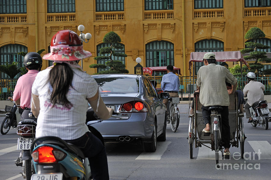Traffic In Downtown Hanoi Photograph