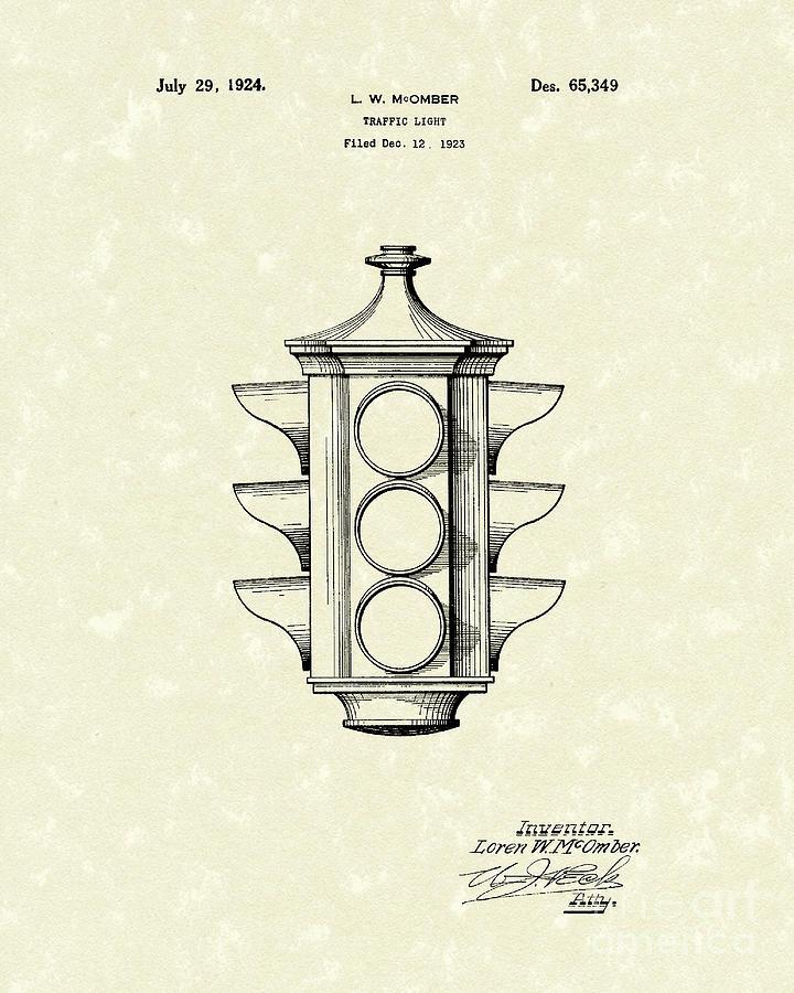 Mcomber Drawing - Traffic Light 1924 Patent Art by Prior Art Design