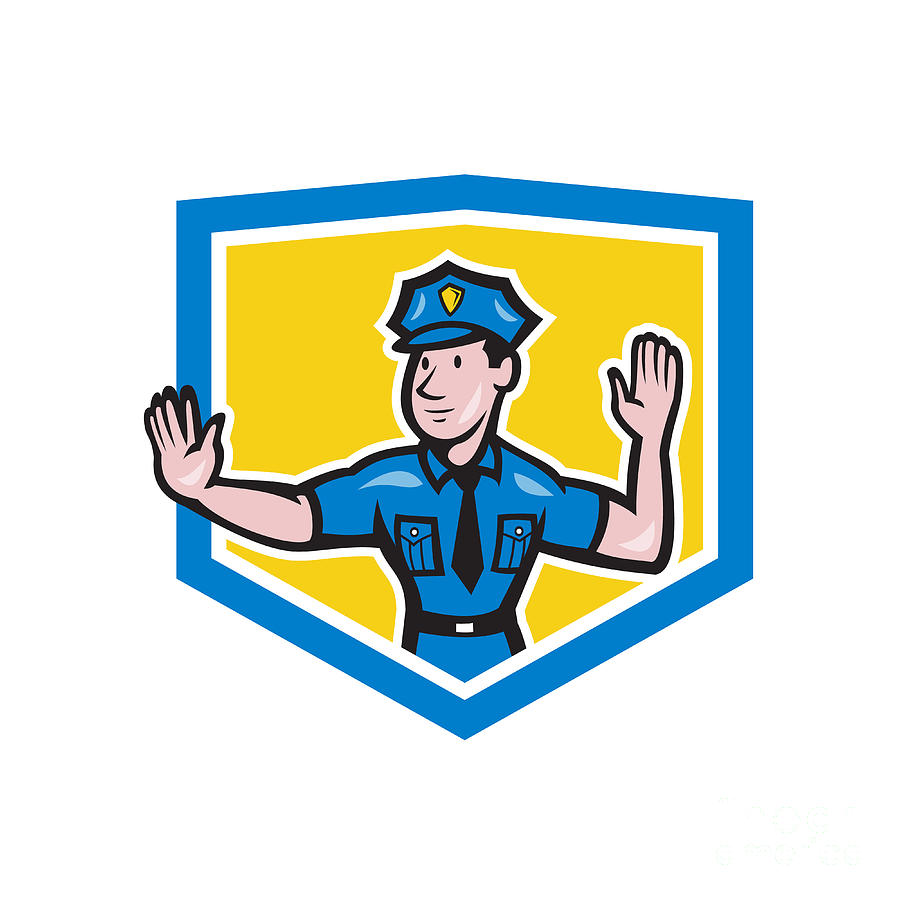 Traffic Policeman Stop Hand Signal Shield Cartoon Digital Art