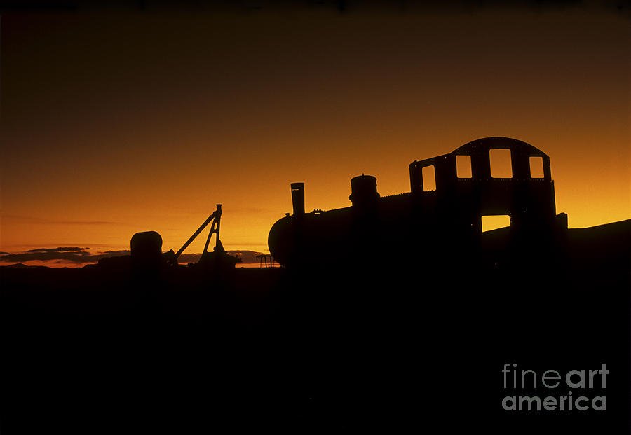 Train Cemetery Sunset Photograph