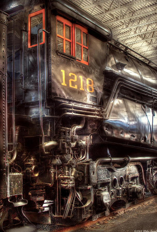 Savad Photograph - Train - Engine - 1218 - Norfolk Western - Class A - 1218 by Mike Savad