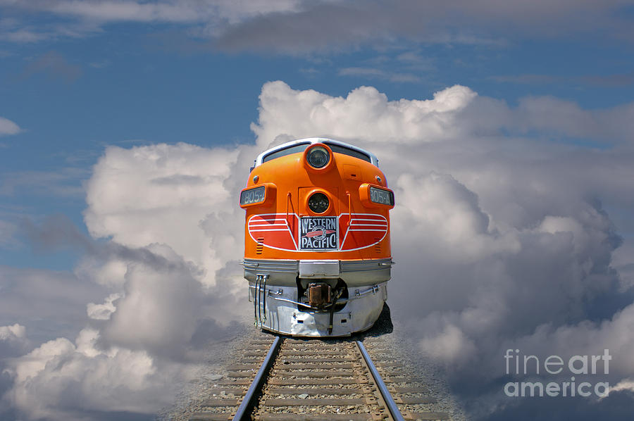 Surreal Photograph - Train In Clouds by Ron Sanford