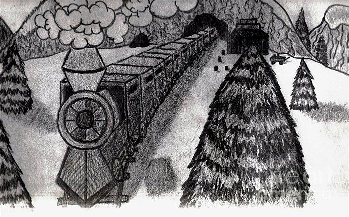 Trains-snow-wood-shadows-graphite Pencil- Drawing - Train In The Snow by Neil Stuart Coffey