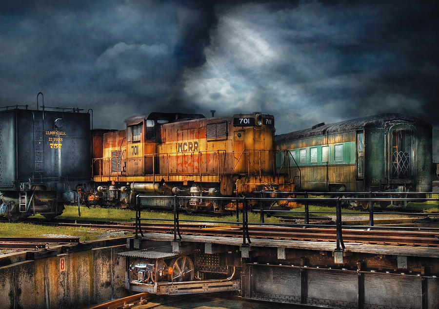 Savad Photograph - Train - Lets Go For A Spin by Mike Savad