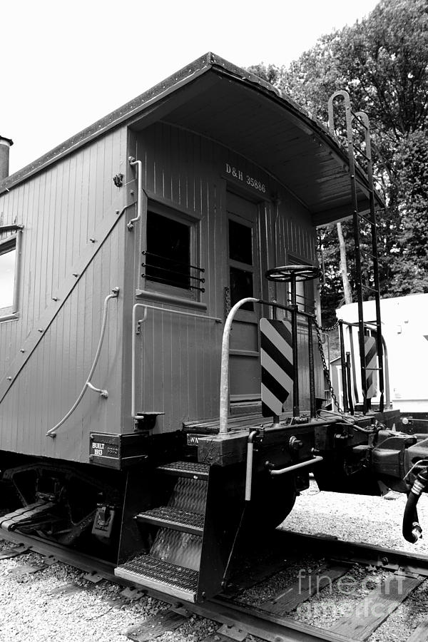Train - The Caboose - Black And White Photograph