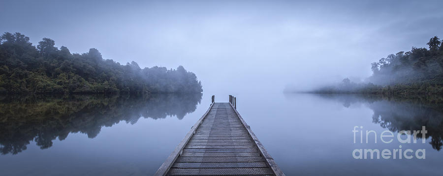 Mist Photograph - Tranquil Lake And Misty Dawn Panorama by Colin and Linda McKie