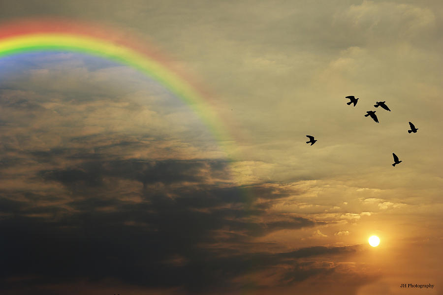 Tranquil Sunset And Rainbow Photograph