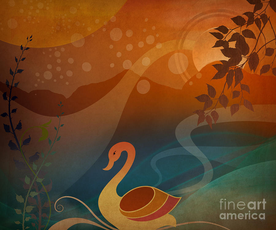 Tranquility Sunset Digital Art  - Tranquility Sunset Fine Art Print