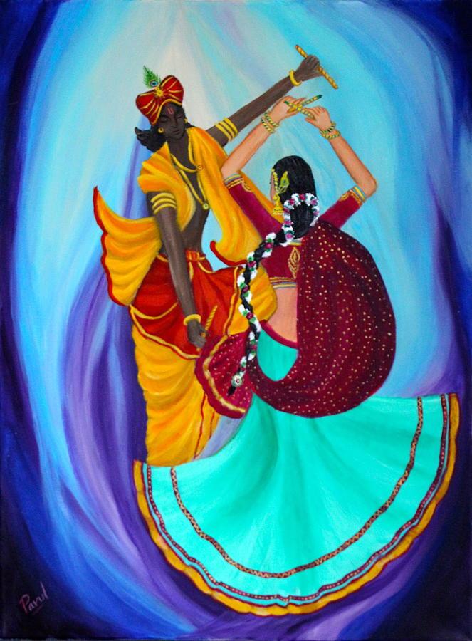 Transcedental Dancing - Radha Krishna Painting by Parul Mehta