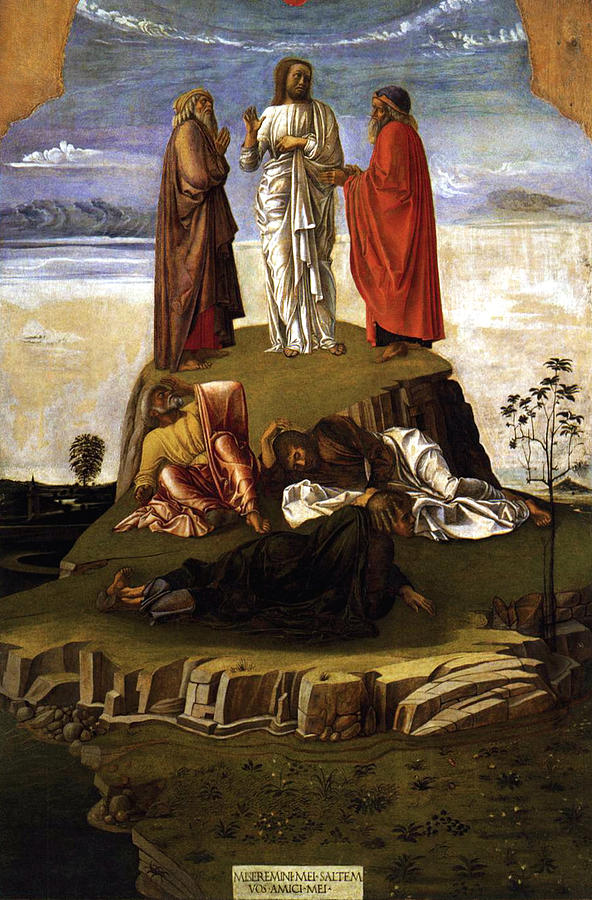 Transfiguration Of Christ On Mount Tabor 1455 Giovanni Bellini Painting