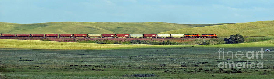Transportation. Panorama With A Train. Photograph  - Transportation. Panorama With A Train. Fine Art Print