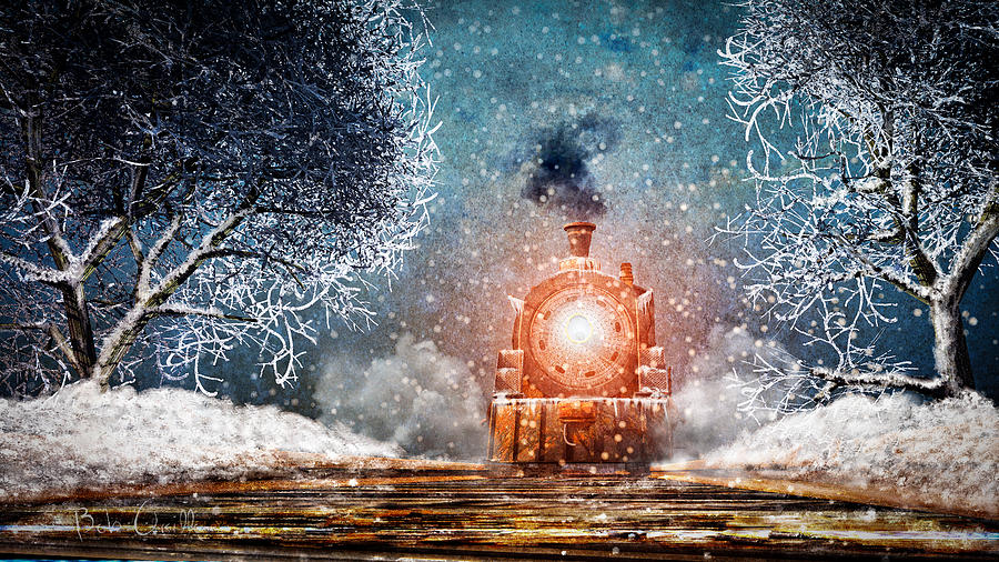 Train Mixed Media - Traveling On Winters Night by Bob Orsillo