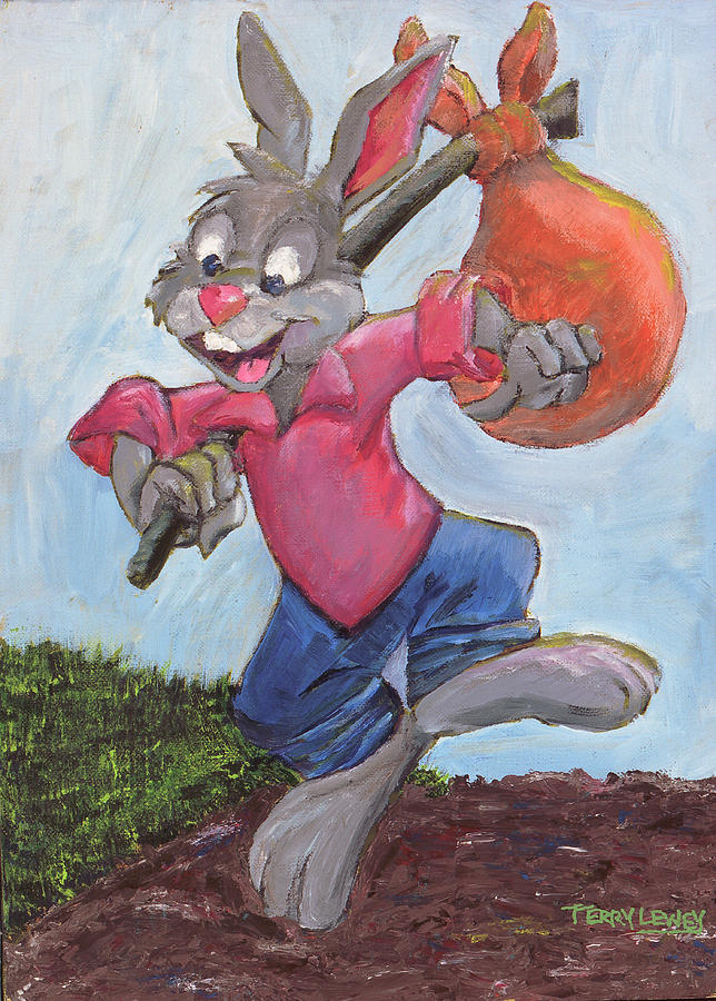 Traveling Rabbit Painting  - Traveling Rabbit Fine Art Print